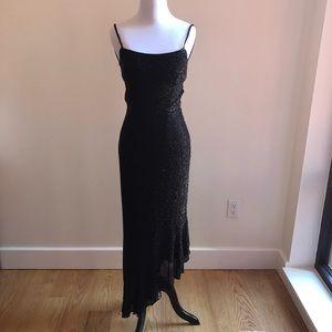Black fully beaded backless dress